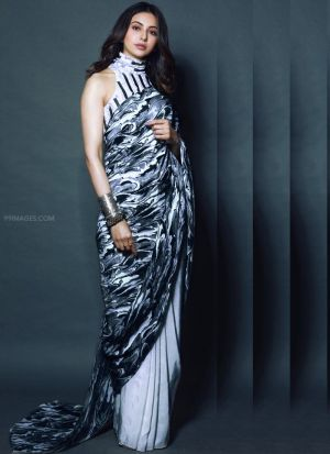 Indian Wear White And Black Color Digital Printed Saree