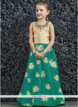 Indian Wedding Wear Small Kids Lehenga Choli In Green Color