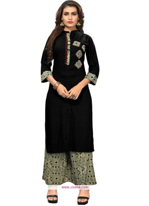 Indian Women Ethnic Wear Black Rayon Palazzo Kurti