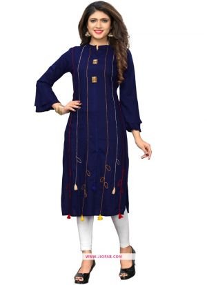 Indian Women Ethnic Wear Blue Rayon Designer Kurti