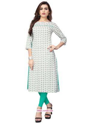 Indian Women Ethnic Wear White Flex Cotton Designer Kurti