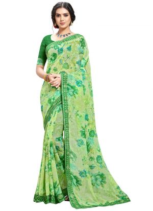 Indian Women Green Solid Georgette Saree