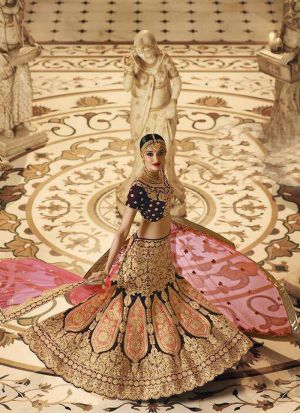 Indian Women Velvet Thread Work And Hand Work Designer Lehenga In Coffee Colour