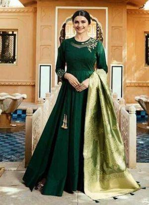 Jenny Silk Green Designer Beautiful Design Party Wear Latest Salwar Suit Eid Collection
