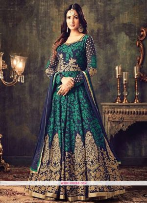 KD 1144 Green Georgette Embroidered Festive Salwar Suit
