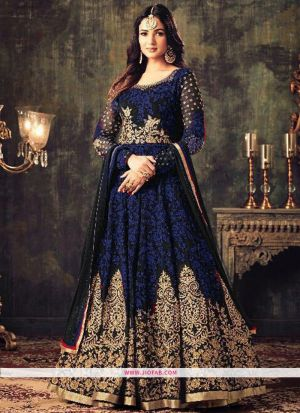 KD 1144 Navy Georgette Embroidered Designer Salwar Suit