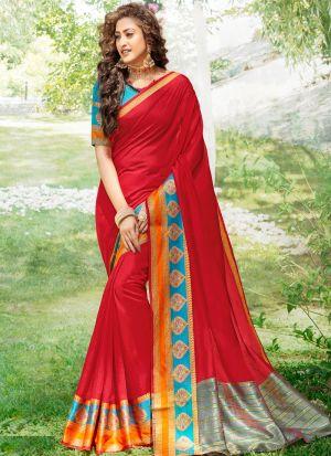 Khadi Silk Red Ceremonial Trendy Saree