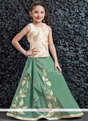 Kids Wear Cream Phantom Silk Floor Length Lehenga Choli for Festive
