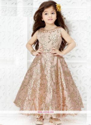 Kids Wear Princess Style Gown In Cream Color