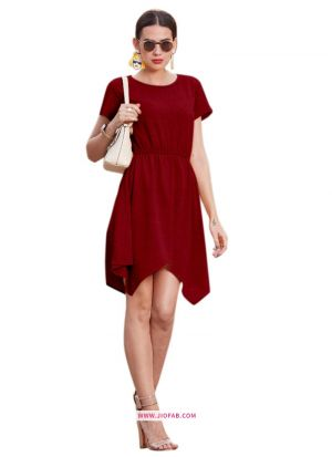 Knee Length Onepiece Maroon Color Western Wear Dress