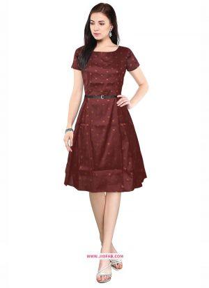 Knee Length Onepiece Taffeta Maroon Western Dress