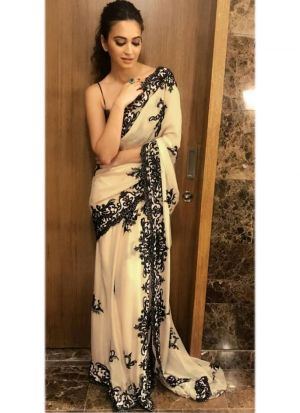 Kriti Kharbanda Bollywood Off White Fancy Thread Work Gorgette Saree