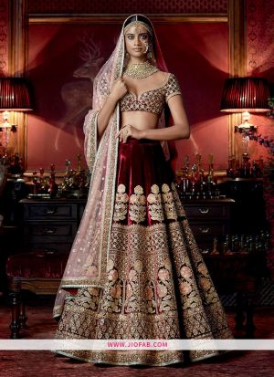 KT 2059 Velvet Sequnce Work Maroon Cocktail Boutique Lehenga Choli