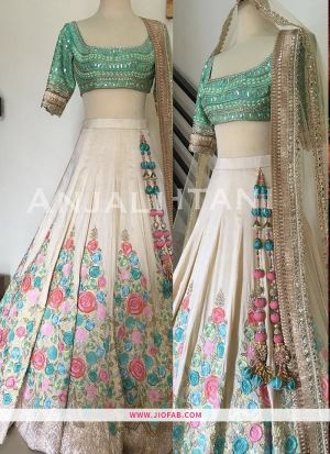 KT 2060 Off White Festival Bangalore Silk Semi Stitched Wedding Lehenga Choli