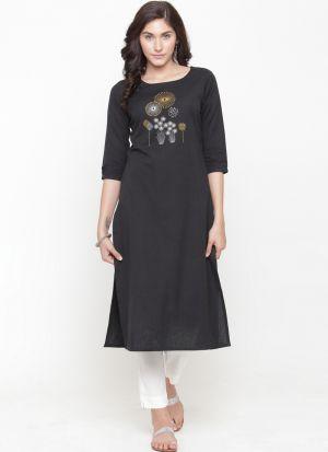 Ladies Black Cotton Blend Party Wear Kurti