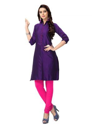 Ladies Flavor New Arrival Cotton Silk Purple Kurti