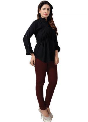 Ladies Solid Black Color Formal Top