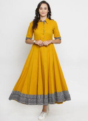 Ladies Yellow Cotton Blend Party Wear Kurti