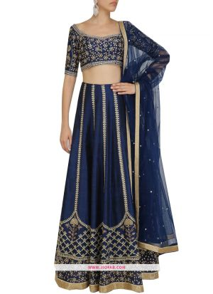 Latest Arrival Art Silk Traditional Lehenga Choli In Navy Color