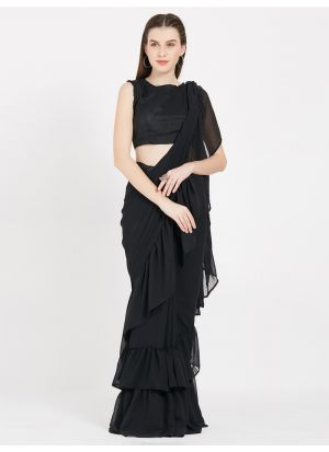 Latest Black Color Indian Party Wear Fancy Ruffle Sarees