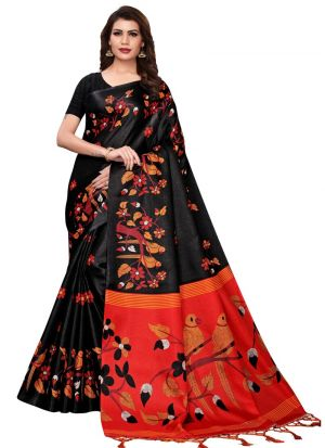 Latest Black Color Khadi Silk Printed Indian Style Saree