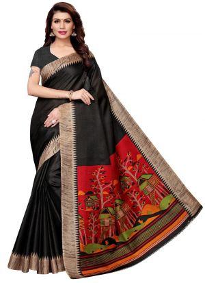 Latest Black Khadi Silk Printed Indian Saree