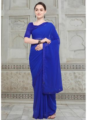 Latest Blue Indian Party Wear Fancy Sarees