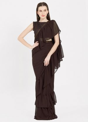 Latest Brown Indian Party Wear Fancy Ruffle Sarees