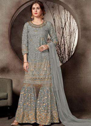 Latest Collection Grey Designer Sharara Suit