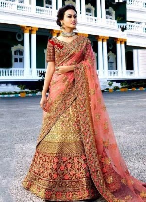 Latest Collection Multi Color Bridal Lehenga Choli With Kerala Silk Fabric