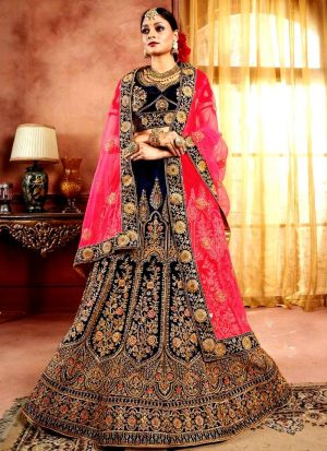 Latest Collection Navy Color Bridal Lehenga Choli With Pure Velvet Fabric