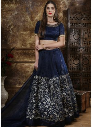Latest Collection Navy Color Party Wear Designer Lehenga Choli