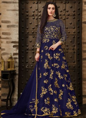 Latest Collection Navy Designer Anarkali Long Salwar Suit
