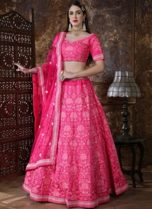 Latest Collection Pink Color Party Wear Designer Lehenga Choli