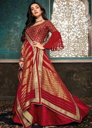 Latest Collection Pure Silk Red Gown Style Anarkali Suit For Ceremony