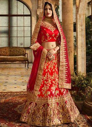 Latest Collection Red Naylon Net Fancy Lehenga Choli