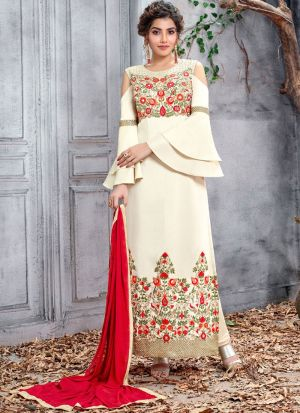 Latest Collection Silk Cream Straight Cut Suit For Ceremony