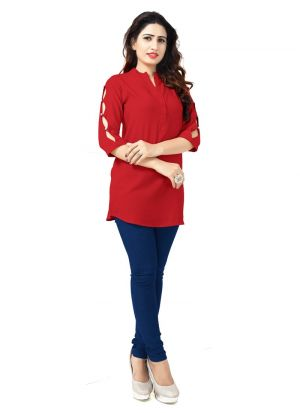 Latest Design Rayon Red Kurti Collection
