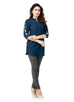 Latest Designer Blue Rayon Stylish Kurtis Collection