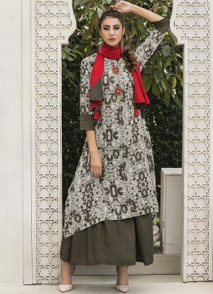Latest Designer Cotton Army Green Ladies Kurti