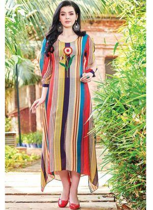 Latest Designer Cotton Multi Colour Ladies Kurti