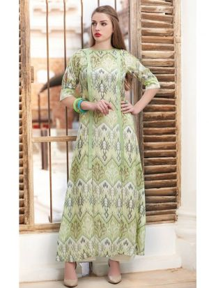 Latest Designer Cotton Olive Green Ladies Kurti