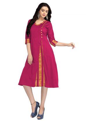 Latest Designer Cotton Silk Pink Ladies Kurtis
