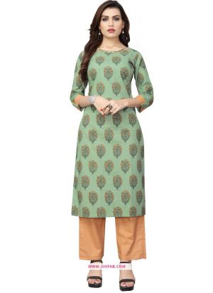 Latest Designer Light Green Cotton Printed Palazzo Kurti Collection