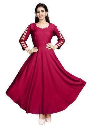 Latest Designer Maroon Pure Heavy Rayon Stylish Kurtis Collection