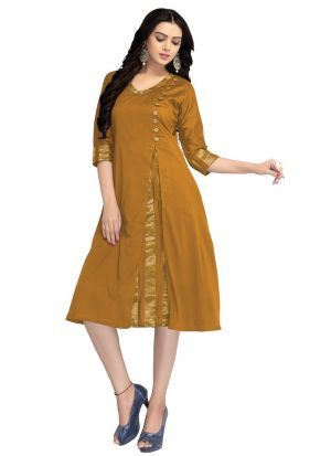 Latest Designer Yellow Cotton Silk Stylish Kurtis Collection