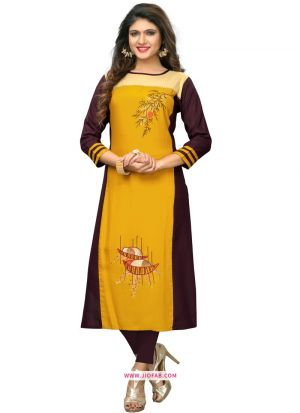 Latest Designer Yellow Rayon Embroidered Kurti Collection