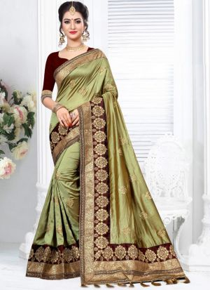 Latest Fancy Two Tone Vichitra Silk Embroidered Traditional Saree