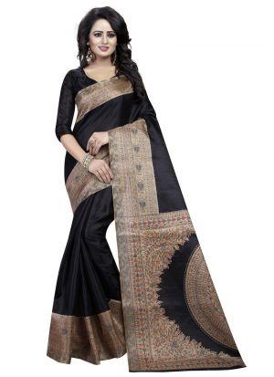 Latest Fashion Black Printed Khadi Silk Saree For Festival