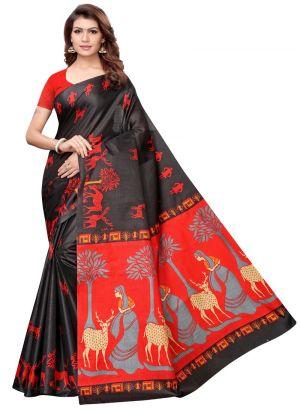 Latest Fashion Black Printed Khadi Silk Saree